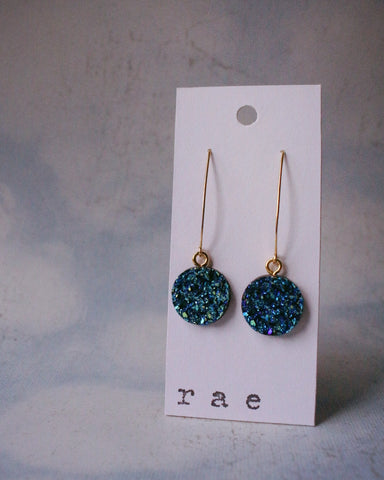 Bold and Sparkly Blue Druzy Drop Earrings