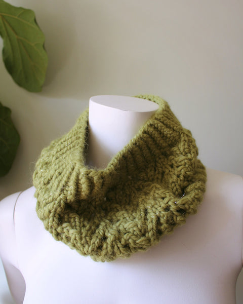 Modern and Warm Avacado Green Knitted Cowl-Alpaca wool