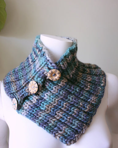 Comforting and Warm Blue Heathered Wool Knitted Cowl--With 3 Wooden Buttons