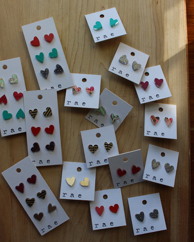 Flirty and Fun Heart Shaped Earrings w/ gold plated hooks