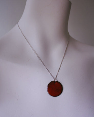 Bold and Bright Red Enamel Necklace