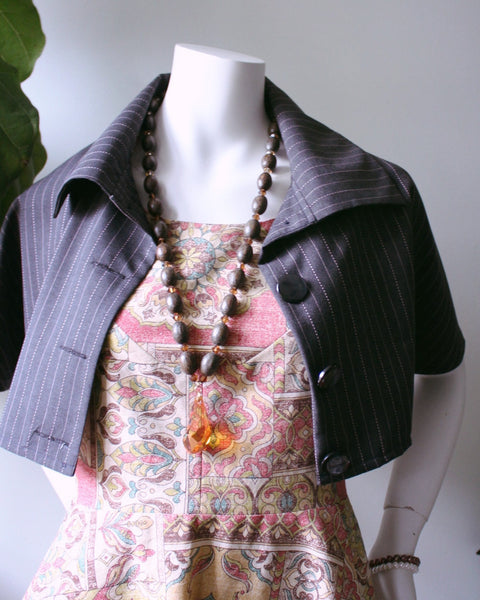 Chic and Playful Sage Cape-grey w/ pink pinstripe