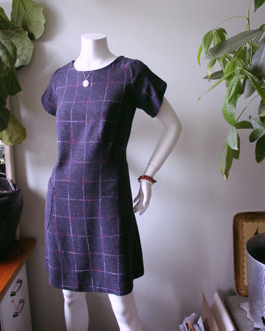 Classically Elegant Huron Blue Plaid Wool Dress