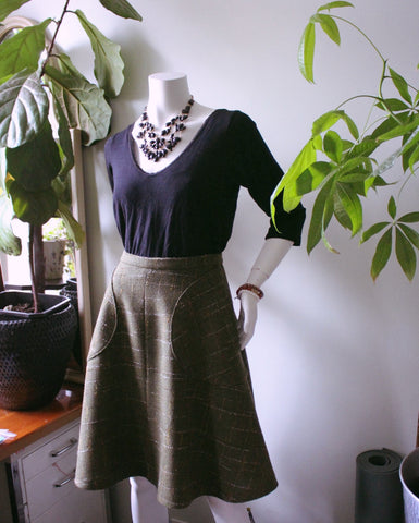Fresh and Flared Lakeview Skirt in Green Wool Plaid