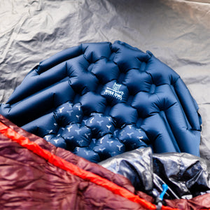 Blue Sleeping Pad with sleeping bag