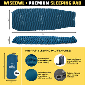 Dark Blue Wavy Sleeping Pad infographic