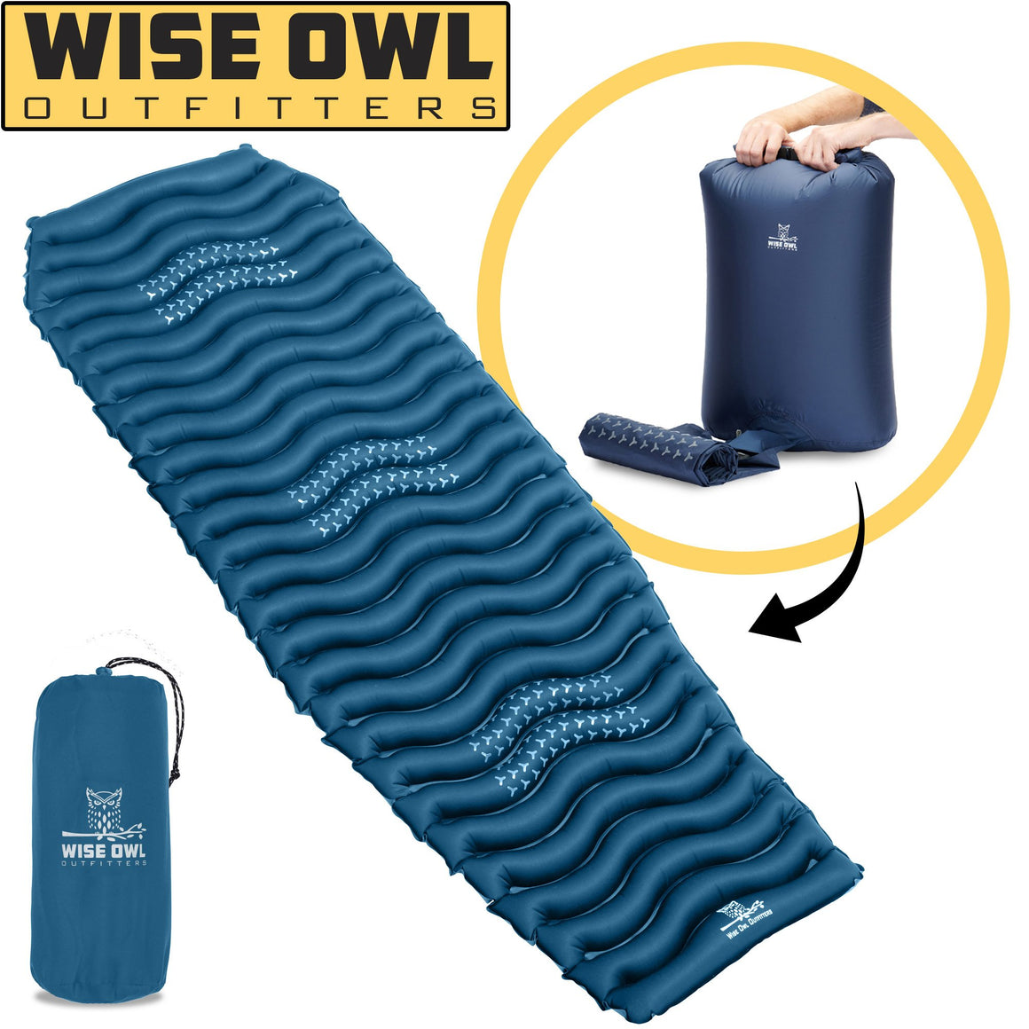 Dark Blue Wavy Sleeping Pad