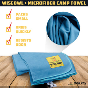 "2-Pack Microfiber Large Camping Towels 24""x48"""