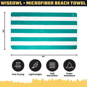WiseOwl Striped Green Beach Towel