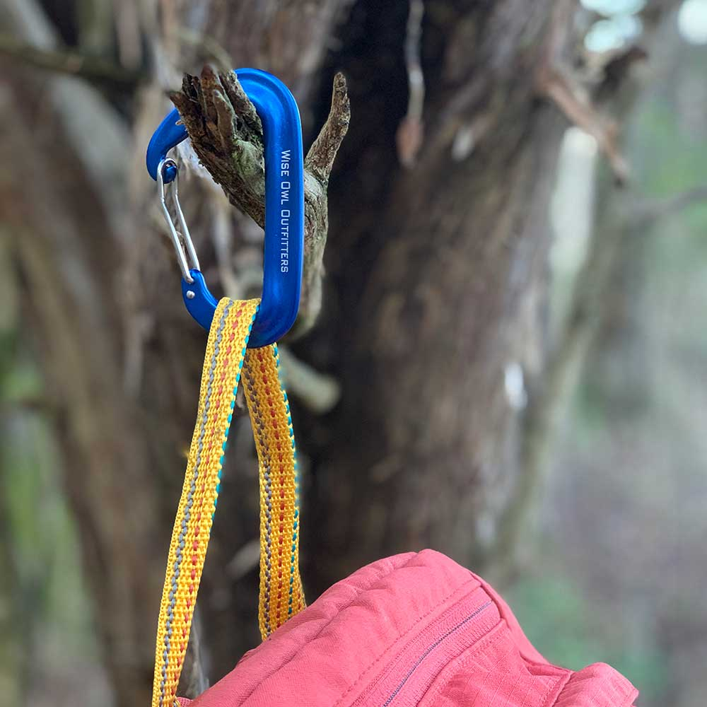 WiseClip Royal Blue Carabiner hanging from tree