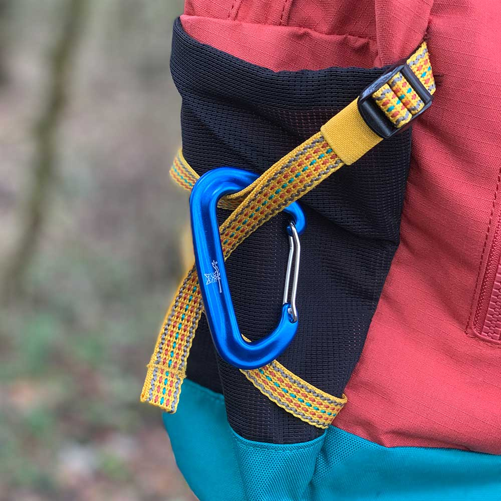 WiseClip Royal Blue Carabiner on backpack