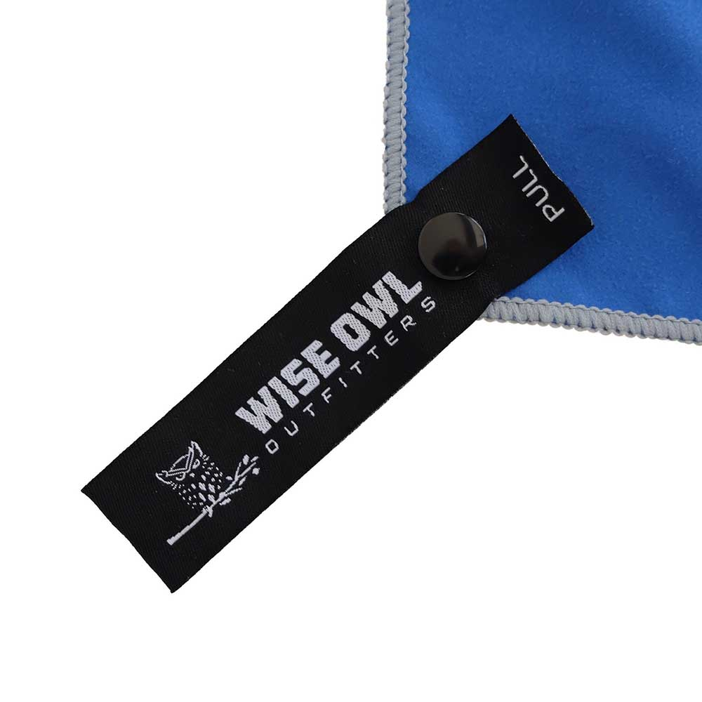Royal Blue Camping Towel Pull Tag