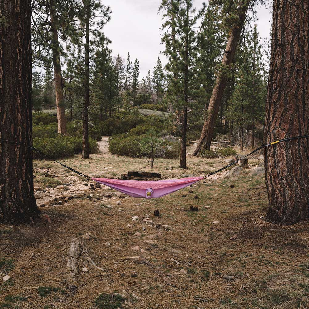Lavender & Pink kids hammock in the outdoors