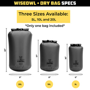 Grey Dry Bag 3 Size Comparison