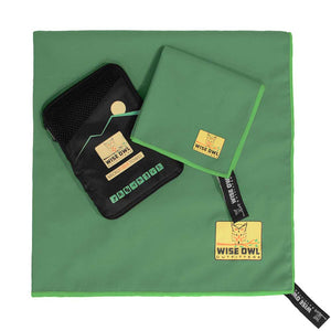 Green Camping Towel with Hand Towel