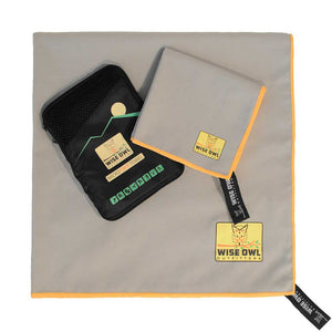 Grey Camping Towel with Carrying Bag