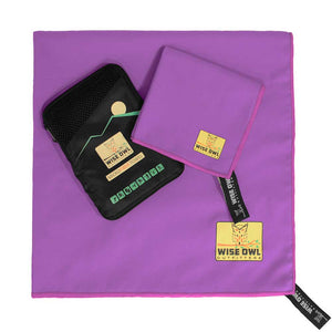 Purple Camping Towel with hand towel