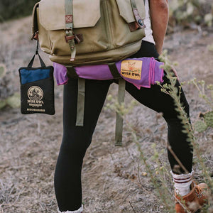 Purple Camping Towel on Backpack