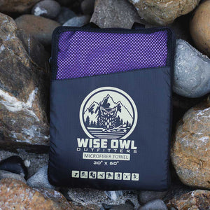 Purple Camping Towel in bag