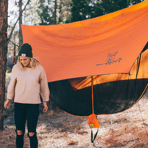 WiseFly Orange Rain Tarp Set Up
