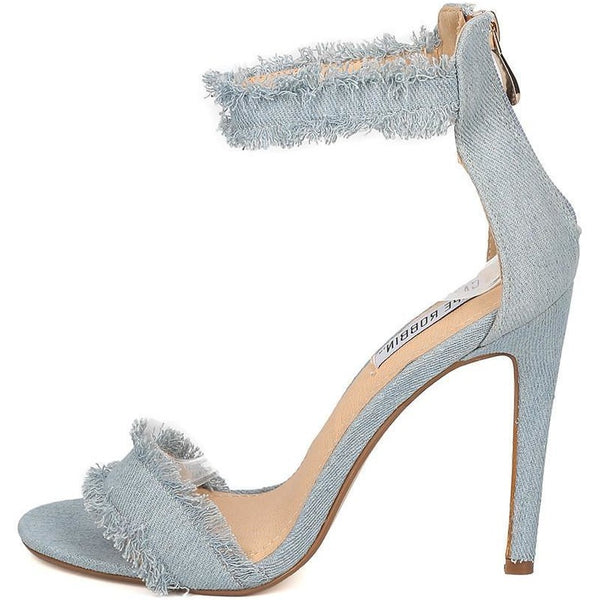 Alza Blue Frayed Distressed Open Toe Stiletto