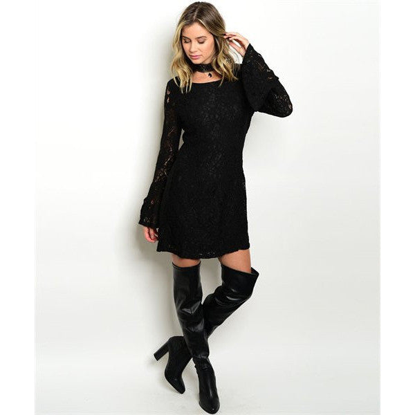 Long Bell Sleeve Lace Fit and Flare Dress