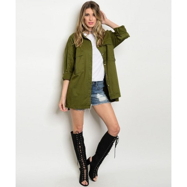 Oversized Boyfriend Military Jacket