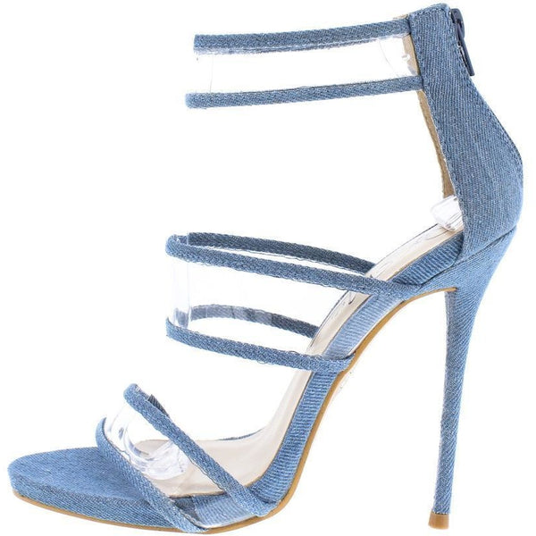 Gabrielle Denim Clear Strap Open Toe Stiletto