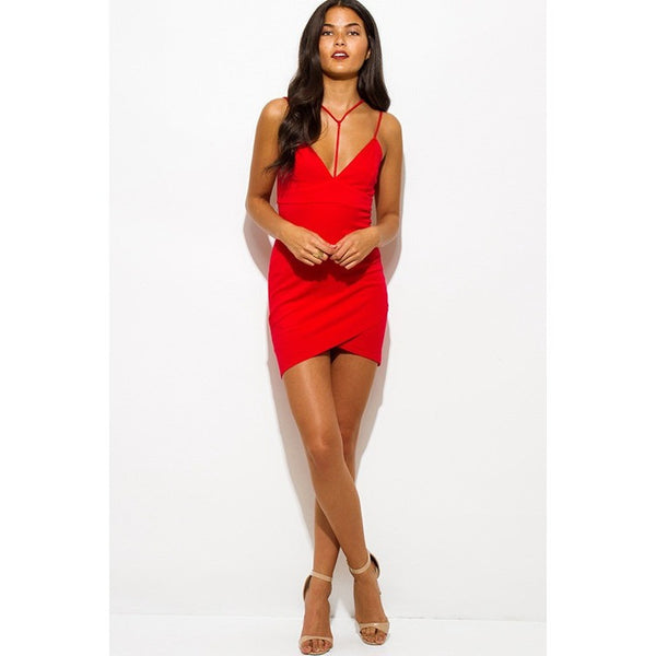 Caged Front Deep V Tulip Wrap Dress