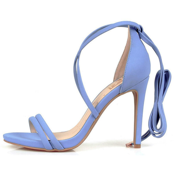 Leona Blue Open Toe Dual Strap Lace Up Ankle Heel