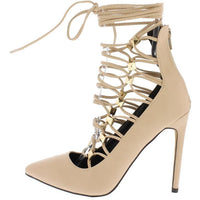 Stella Nude Pointed Toe Lace Up Pump