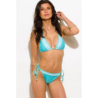 Mint Blue Lace Trim Bikini Swimsuit Set
