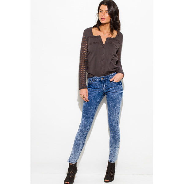 Acid Wash Denim Mid Rise Skinny Jeans
