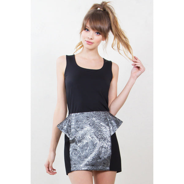 Glass Paisley Peplum Skirt