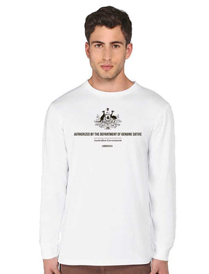 Long sleeved Dept Genuine Satire-White - See-Shirts