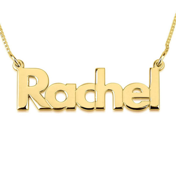 Personalized 14K Gold Bold Print Name Necklace