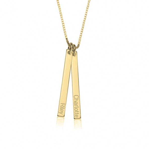 Personalized 14K Gold Dainty Bar Necklace
