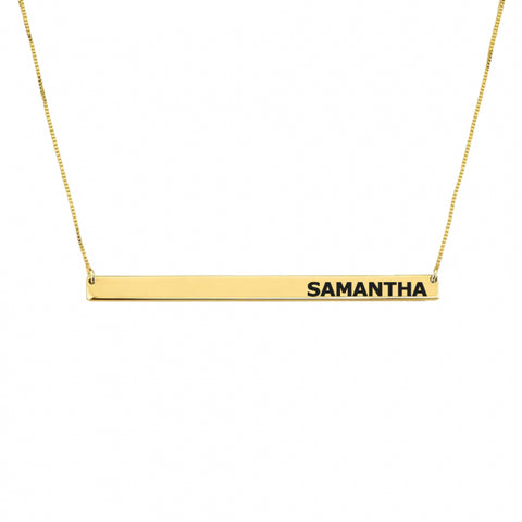 Personalized 14K Gold Skinny Bar Necklace