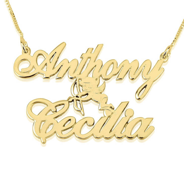 Personalized 14K Gold Two Alegro Name Necklaces with Cupid