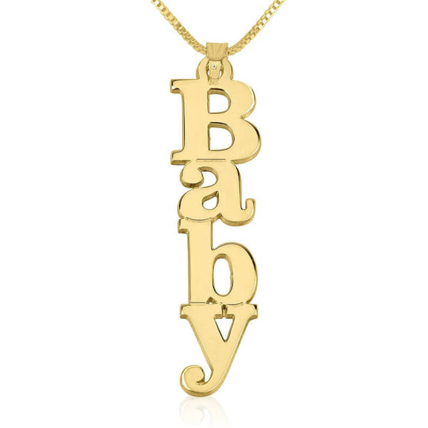Personalized 14K Gold Vertical Capital Name Necklace