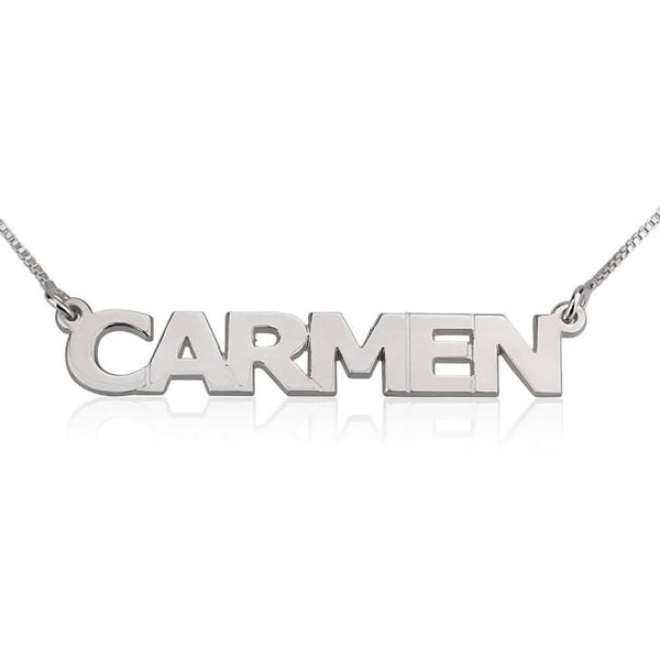 Personalized 14K White Gold Block Letters Name Necklace