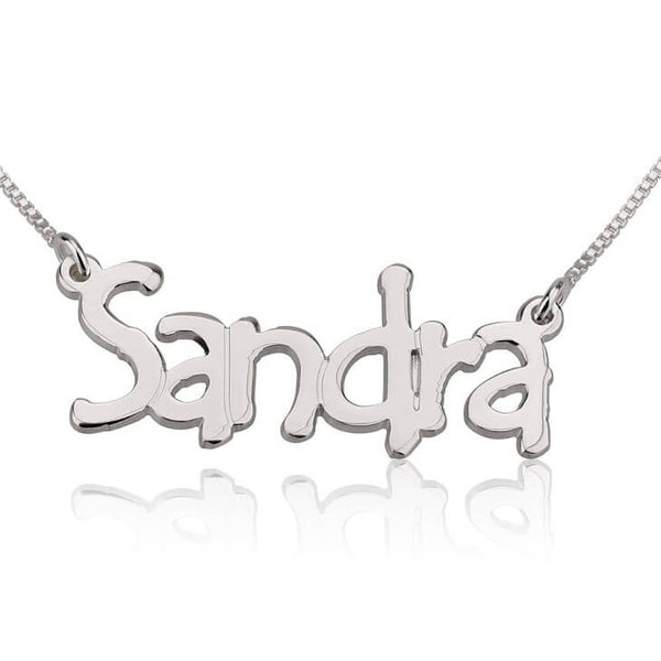Personalized 14K White Gold Tree Style Name Necklace