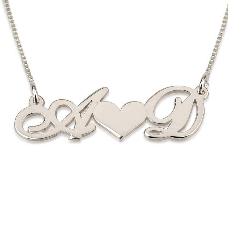 Personalized 14k White Gold Two Initials with Heart In The Middle