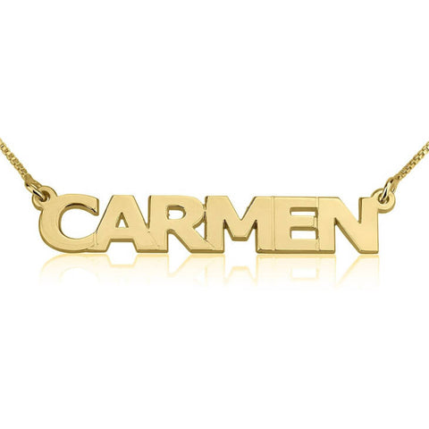 Personalized 14K Gold Capital Letters Name Necklace