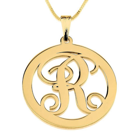 Personalized 24K Gold Plated Circle Initial Necklace