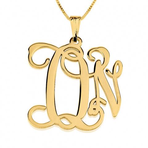 Personalized 24K Gold Plated Curly Two Initials Monogram Necklace
