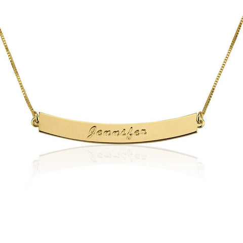Personalized 24K Gold Plated Curved Bar Necklace with Name