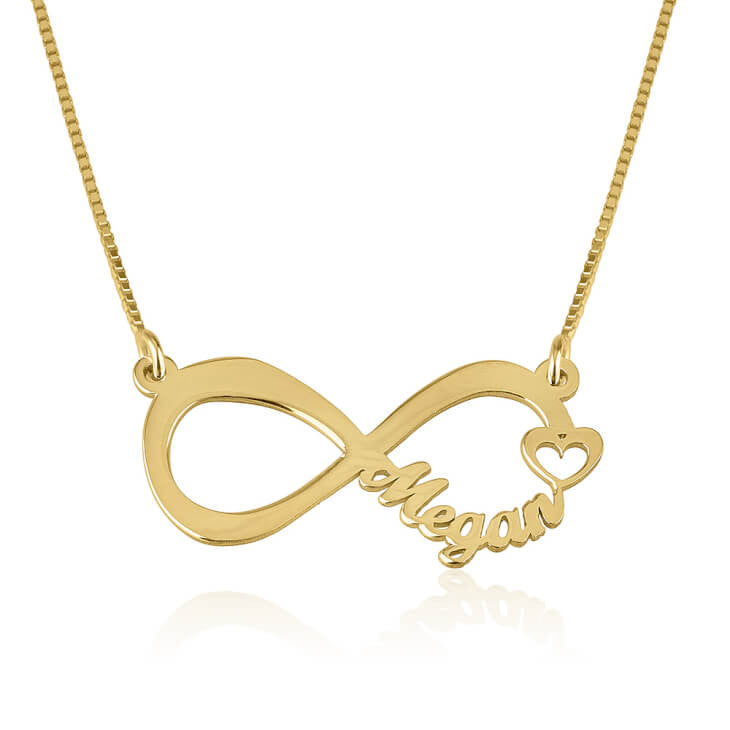 Personalized 24K Gold Plated Cut Out Name Infinity Necklace