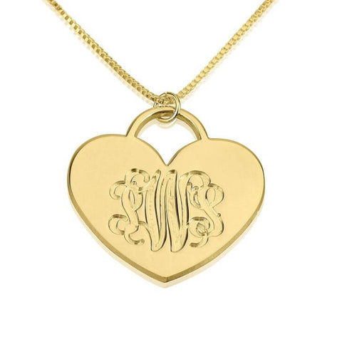 Personalized 24K Gold Plated Engraved Heart Monogram Necklace