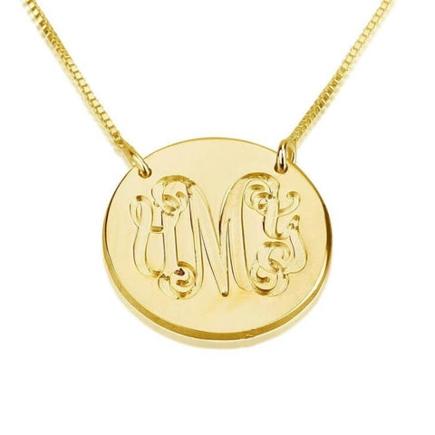 Personalized 24K Gold Plated Medallion Monogram Necklace